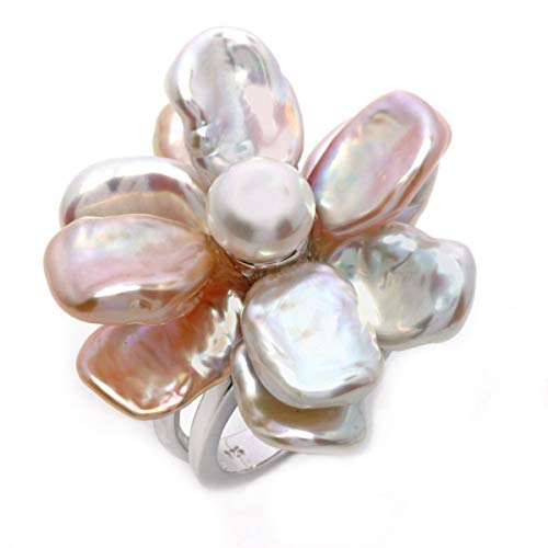 - THE PEARL SOURCE Genuine Multicolor Keshi Cultured Pearl Flower Ring for Women
