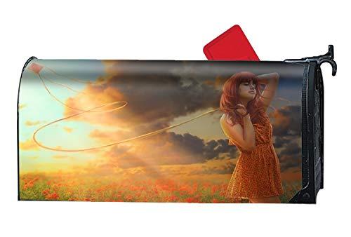 - Artistic Girl Kite Sunshine Poppy Meadow - Decorative Mailbox Makeover Cover