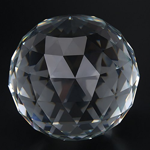 GLOGLOW 1Pc 60/80mm Clear Cut Crystal Glass Ball, Translucent Faceted Gazing Ball Crystal Prisms Glass Ball for Home Hotel Decor Hardware Fittings(80MM/3.15in) (Cut Faceted Glass)