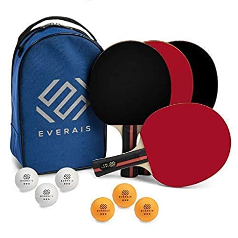 Everais Ping Pong Paddle Set - Table Tennis Set of 4 Quality Rackets and 6 Balls