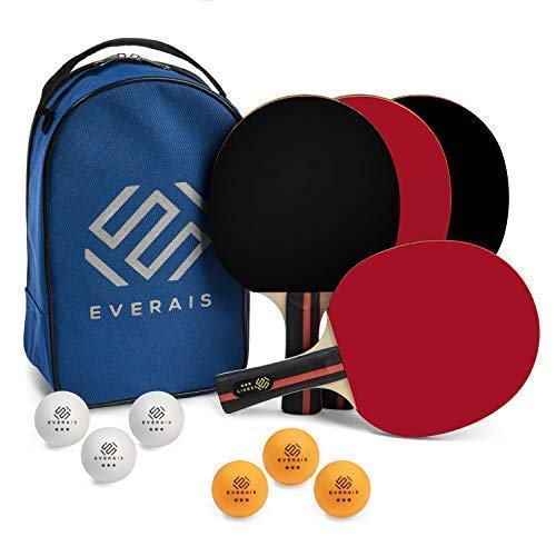 Everais Ping Pong Paddle Set - Table Tennis Set of 4 Quality Rackets & 3 Star 6 Balls with Portable Storage Bag - Soft Matte Rubber - Ergonomic Design - Bat Kit for Indoor/Outdoor - 2 or 4 Players