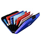 Honsky UPDATE VERSION Aluminum Armored RFID Blocking Credit Card Holder, Travel Metal Debit ID Business Trading Card Organizer Case Protector Storage File Boxes Safety Sleeves Shell, Blue