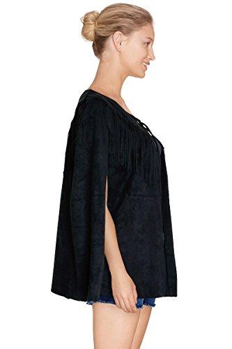 Cherry Paris Promo Mujer -40% Cape/Poncho Esha en materia ante con flecos con sellado de nudos, al nivel de la cuello negro