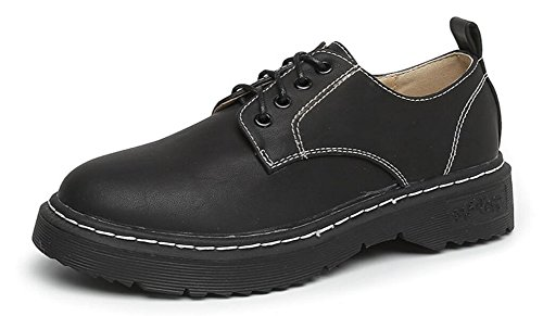 Black Up Ankle Leather Dress By Womens Oxford Shoes Heel JiYe Lace Shoes qAaRPOwX