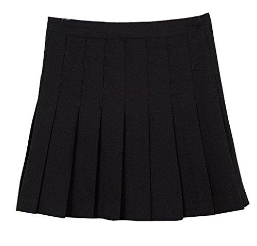 MiXMAX Women High Waist Pleated Mini Tennis Skirt (Medium, Black)