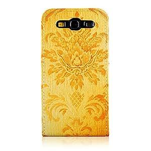 Conseguir Patrón de Flor de Oro PU Leather Case cuerpo completo para Samsung Galaxy S3 I9300