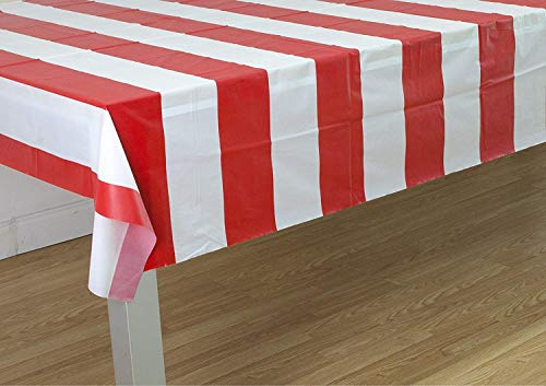 Oojami Red & White Stripes Carnival Theme Party Tablecover Pack of -