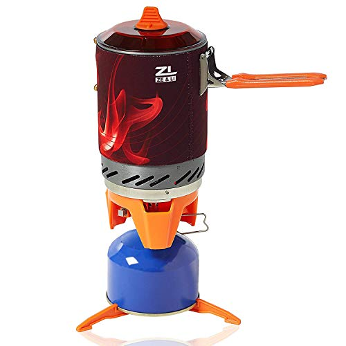 Backpacking Stove by Ze & Li - Camp Stove Perfect For Outdoor Activities In Groups, Sophisticated Heating Technology, 1L Cup