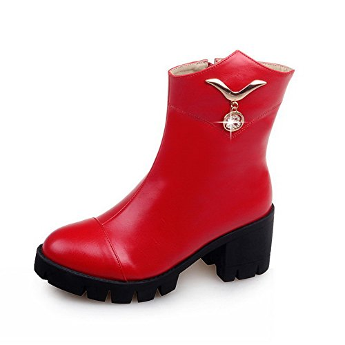 with Low Women's Solid Round Heels Top Closed Charms Toe Red AgooLar Kitten PU Boots IZnxaPZw