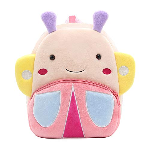 White Dolphin Cute Toddler Backpack,Cartoon Cute Animal Plush Backpack Toddler Mini School Bag for Kids Age 1-3 Years Old (Butterfly), Small