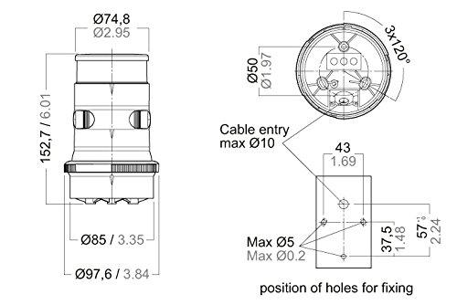 41avdq2Fj5L amazon com aqua signal tri color anchor led navigation light aqua signal series 34 wiring diagram at panicattacktreatment.co