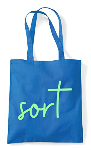 Tote Statement Bag Sort Shopper Quote Hashtag Sapphire a6qWBw8WH