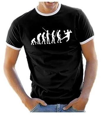 Coole Fun T Shirts Herren T Shirt Handball Evolution Ringer