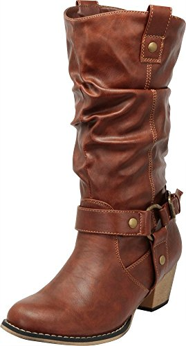 (Cambridge Select Women's Pull On Western Style Cowboy Boots (6 B(M) US, Tan))