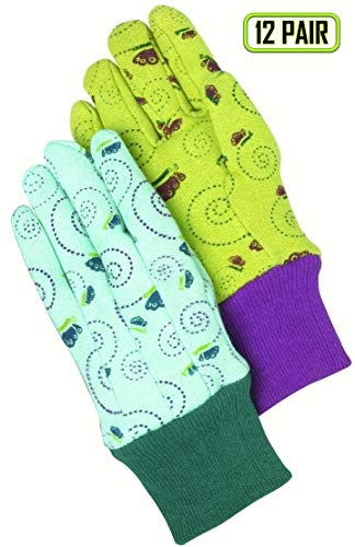 - Magid Safety KD20TX Children's Glove | 12 Pairs of Children's Butterfly Print Jersey Gloves with a Floral Print - 6 Pairs (Turquoise/Navy) & 6 Pairs (Banana/Red)