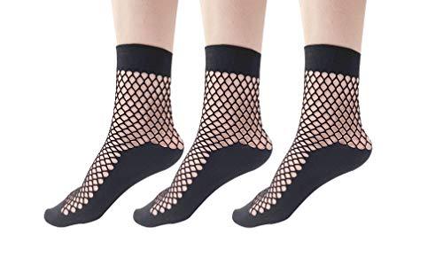 Women 3 Pairs Sheer Elastic Black Fishnet Socks Transparent Ankle Stockings (3pairs)
