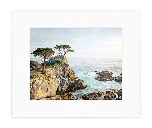 Carmel Coastline Print - California Coastal Wall Art, Lone Cypress Tree Picture, 8x10 Matted Photographic Print (fits 11x14 frame), 'Lone Cypress'