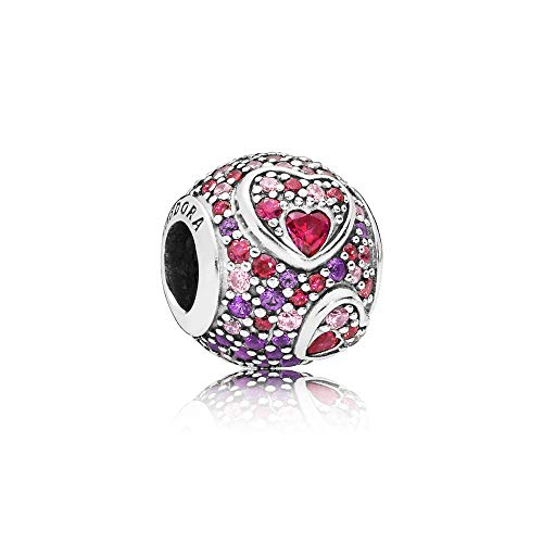 - PANDORA Asymmetric Hearts of Love Charm 925 Sterling Silver - 797826CZRMX