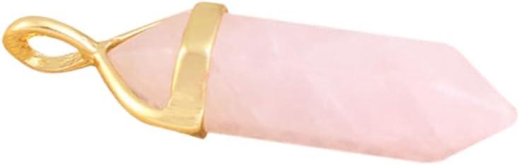 Noblik Elegante Columnas Hexagonales Pendiente del Grano de Piedra para Collar -Oro Tono, Cuarzo Rosa
