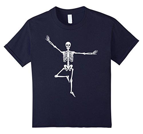 Kids Halloween Funny Skeleton Yoga T-Shirt Men Women Kids 12 Navy