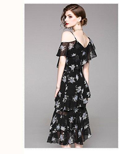 Black Dresses Off Printed Dress Shoulder cotyledon Irregularity Women`s Slip 8wRqIES