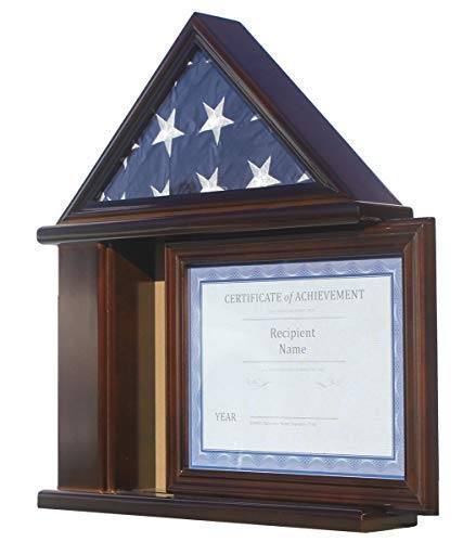 Flag Display Case Certificate & Document Holder Frame Military Shadow Box, for 3' X 5' Flag only. (Walnut) by DisplayGifts