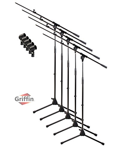 Microphone Stand with Boom Arm and Mic Clip (Pack of 5) by Griffin | Tripod Telescoping Premium Quality for Studio, Karaoke, Live Performances, Conferences | Portable with Folding Legs & ()
