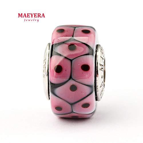 Calvas Authentic 925 Sterling Silver Lampwork Beads Barrel Beads Murano Glass Beads Fit European Charm Bracelet 920295