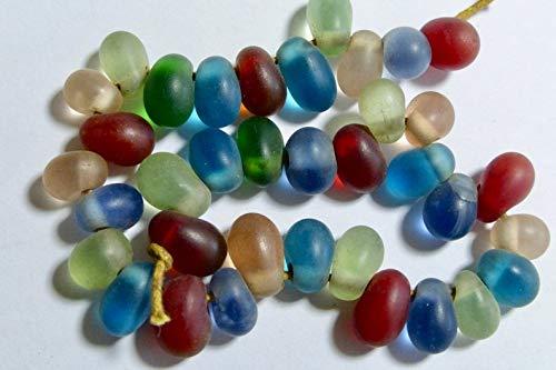 Design Ideas - Vintage Burmese Matte Translucent Mix Dew Drop Glass Beads 9x6mm (34) - Unique Selection Beads ()