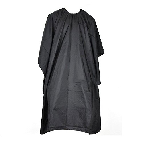 Hair Cutting Hairdressing Cloth Barbers Hairdresser Salon Adult Waterproof Cape Gown Wrap Black (Cape Mall)