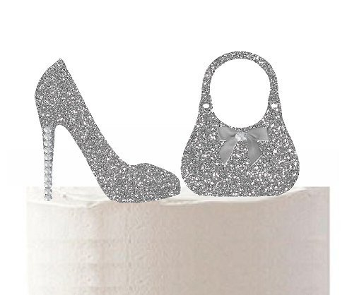 Price comparison product image Ladies Stilettos Shoes & Hand Bag Rhinestone Sparkle Toy Cake Cupcake Decoration Topper (Silver Glitter)