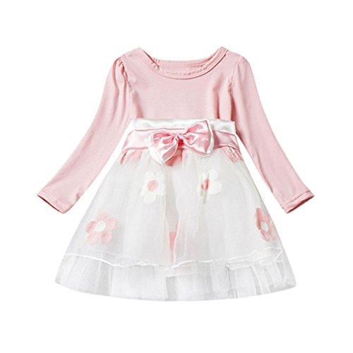 Honhui Cute Baby Girls Flower Dress Bowknot Fold Tulle Party Toddler Tutu Princess (S, Pink)