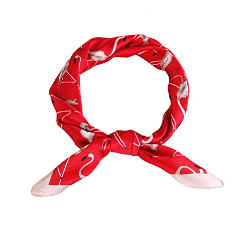 Lusm Satin Silk Like Scarf Women's Square Lightweight Chiffon Headscarf Hair Neck Scarf Beach Bandana for Ladies Red - Ladies Tie Scarf