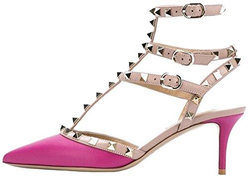 Calaier Mujer Caman Tacón De Aguja 6.5CM Sintético Hebilla Sandalias de vestir Zapatos Rosa