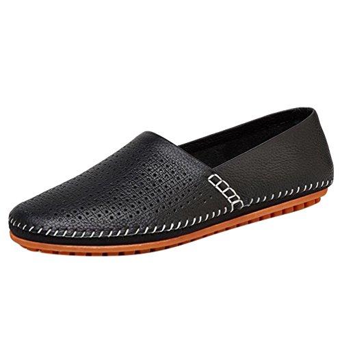 Baymate Herren Freizeit Loafer Schuhe PU Slip-on Fahren Bootsschuhe Schwarz