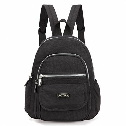AOTIAN Mini Nylon Women Backpacks Casual Lightweight Strong Small Packback Daypack For Girls Cycling Hiking Camping Travel Outdoor Black