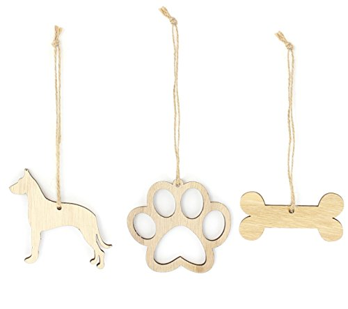 Great Dane Christmas Ornament Dog Lover Gifts Wooden Christmas Ornaments 3-Piece Bundle ()