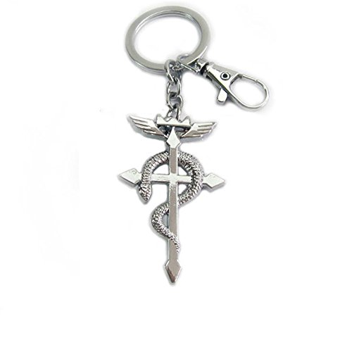 Price comparison product image NoveltyBoy Fullmetal Alchemist Anime Pocket Necklace Ring Keychian 2 in Cross Pendant Chain Snake Cosplay