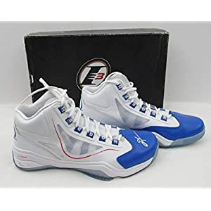 Allen Iverson Philadelphia 76ers Signed Blue Toe Mid Reebok Bkb. Shoes JSA 136215