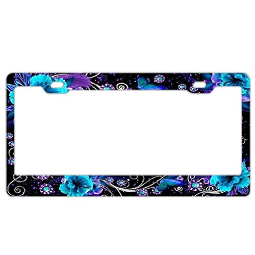 FunnyLpopoiamef DIY Bling Custom Black License Plate Frame Blue Flowers Butterflies,Stainless Steel Metal Auto Car License Plate Frame Tag