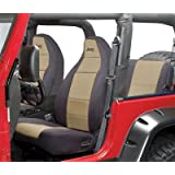 Coverking Front 50/50 Bucket Custom Fit Seat Cover for Select Jeep Wrangler TJ Models - Neoprene (Tan with Black Sides)