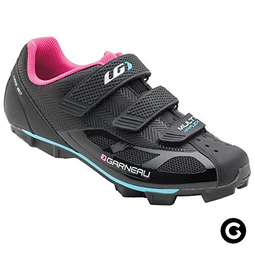Louis Garneau Women's Multi Air Flex Bike Shoes for Indoor Cycling, Commuting and MTB, SPD Cleats Compatible with MTB Pedals, Black/Pink, US (10), EU (Mountain Bike Shoe Reviews)