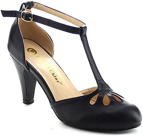 Chase & Chloe Kimmy-36 Women's Teardrop Cut Out T-Strap Mid Heel Dress Pumps