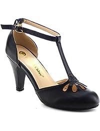 Kimmy-36 Women's Teardrop Cut Out T-Strap Mid Heel Dress Pumps
