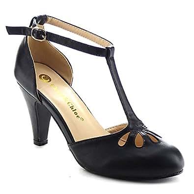 Chase & Chloe Kimmy-36 Women's Teardrop Cut Out T-Strap Mid Heel Dress Pumps (5.5, Black PU)