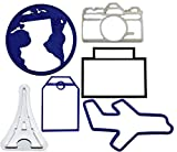 WORLD TRAVEL SET OF 6 GLOBE PLANE PARIS CAMERA SUITCASE TAG SPECIAL OCCASION COOKIE CUTTER FONDANT BAKING TOOL 3D PRINTED USA PR1032