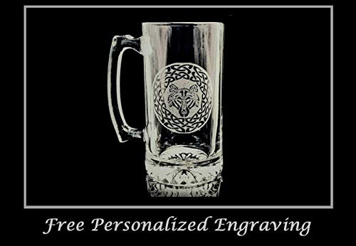 - Celtic Wolf 27oz Stein- Free Personalized Engraving