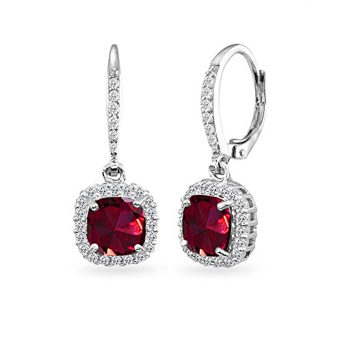 Sterling Silver Created Ruby Cushion-Cut Dangle Halo Leverback Earrings with White Topaz Accents (Ruby Cushion Cut)