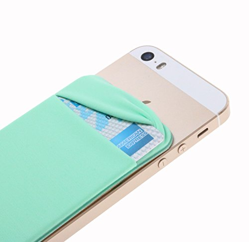 Case Art Plus Credit Card Secure Holder Stick on Wallet [ Lid ] Discreet ID Holder Lycra Spandex Card Sleeves for Smartphones, iPhone 6, Samsung Galaxy Cell Phone Wallet Case 3M Adhesive (Mint)