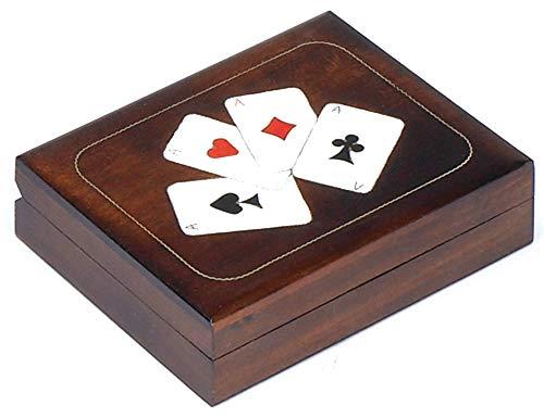 (Double Deck Playing Card Wood Box Polish Handmade Linden Wood Keepsake)